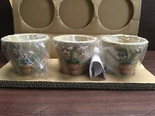 L@K Partylite Terra cotta Garden Flower Pot Trio P9282 Votive Candle Holders