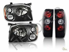 Black Housing Headlights + Tail Lights Lamps For 01-04 Nissan Frontier RH + LH