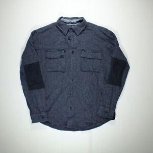 TOMMY JEANS HILFIGER Mens Shirt Long Sleeve Wool Blend Blue Size Medium