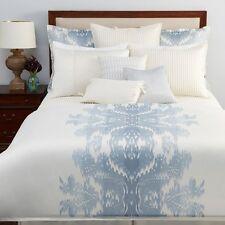 Hudson Park Queen MIRABELLE COVER & SHAMS Set Blue Ivory Ikat $620 New
