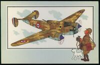 a36 art Herge TINTIN cartoon war airplanes of WWII ww2 original old 1950s card