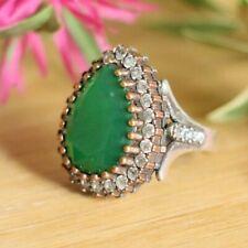 Hurrem Sultan 925 Sterling Silver Rings,Green Jade Emerald( lab created ) & CZ