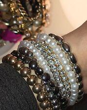 NEU H&M Armband Armbänder Armreifen Gold Silber Strass Luxus SET - HAND MADE -