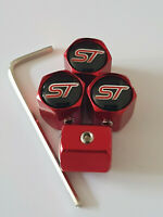 ST RED ANTI THEFT DUST VALVE CAPS LIMITED ALL MODELS RETAIL PACK  ST-2 ST-3