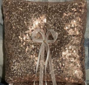 Wedding Ring Pillow Satin Ribbon Sequin Bearer Pillow Rose Gold
