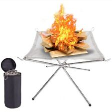 More details for folding portable fire pit mesh fire pit bonfire stand outdoor camping patio