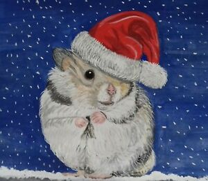 Cute Hamster Christmas cards pack of 5 by Sarah Sample Art