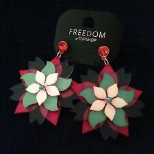 NWT Topshop Pink Flower Earrings Women Accesories
