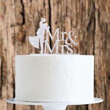 Argento Glitter Sposa/Sposo Mr&Mrs cake topper x1 cottura pick matrimonio