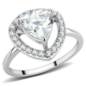 3carat trillion ring ladies dress cz stainless steel silver pretty clear 3699