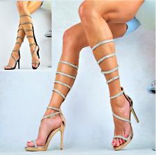 Nuevo de Diseño Brillo Zapatos Mujer Sexy Fiesta Tacón Lujo Sandalias Gladiador