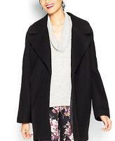 Bar III Women's Notched-Lapel Cocoon Coat, Black, S