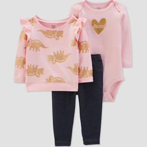 Carters Baby Girl 6 Months Pink Terry Top Bodysuit Pants Set Sparkle Dinosaur