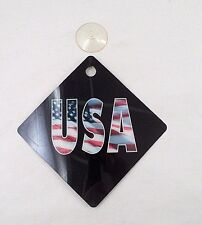 "NOS New Patriotic Support 5""x5"" USA American Flag Window Suction Cup Sign"