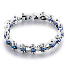 Women Men Blue Crystals CZ Bangle Stainless Steel Motorcycle Bike Chain Bracelet