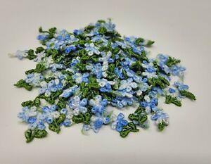 Lot De 144 Pièces Vintage Petit Bleu Fleur Floral Brodé Artisanat Appliques