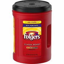 (TWO) FOLGERS 51 oz. CLASSIC ROAST MEDIUM FRESH GROUND COFFEE MAKES 400 CUPS