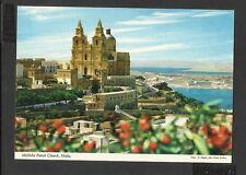 John Hinde Colour Postcard General View Mellieha Parish Church Malta Unposted