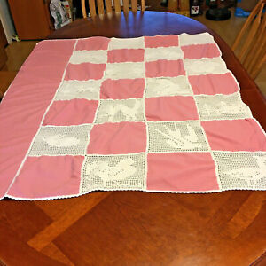 Fillet Crocheted Patch Work Baby Bedspread Pink & White