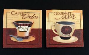 TWO Coffee Cup Wall Hanging Tile Art Caffe Dolce Main Street Cafe Gourmet Java