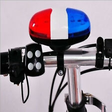 6 Bike Bicycle Police LED Light + 4 Loud Siren Sound Trumpet Cycling Horn Bell R