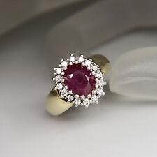 Ring mit ca. 0,48ct Diamant W-si und ca. 2,00ct Rubin in 585/14K Weiß-/Gelbgold