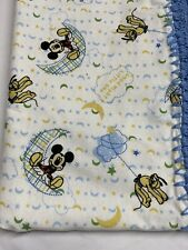 """Boys """"Mickey Mouse On The Moon"""" Flannel Baby Blanket Crocheted Border 36x 41"""