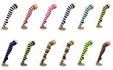 Unisex Over The Knee Socks Thigh High Long Striped Socks Plain Rainbow Stripe
