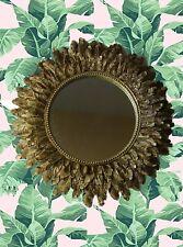 Gold Feather Mirror, Sunflower Mirror, Antique Gold Sunburst, Leaf Mirror