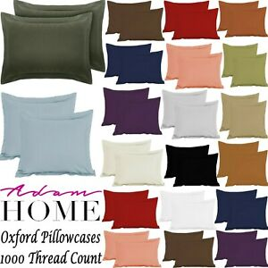 1000 Thread Count 100% Pure Egyptian Cotton Pillow Case Pair Oxford Bedroom Size