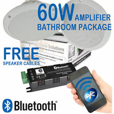 2x White Bathroom Ceiling Speakers + 60w Wireless Bluetooth Amplifier B429BL