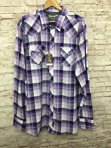 Wrangler Retro Shirt Pearl Snaps Purple Plaid Cowboy Western NWT Rodeo 2XT