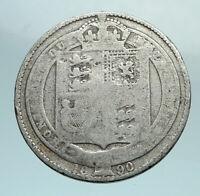 1887 UK Great Britain United Kingdom QUEEN VICTORIA Silver Shilling Coin i79661