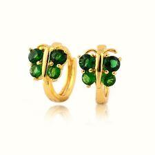 18k Yellow Gold Filled Earrings Women's 14mm Hoop Butterfly Green CZ GF Jewelry