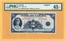 Canada $2 Dollars English PMG-45 EPQ P-40 BC-3 1935 Osborne-Towers Banknotes