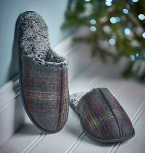 Avon Checked Mens Slippers Grey Size 11/12 L Large Hard Sole Father's Day Gift