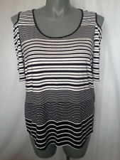 Ladies Short Sleeve Blouse Top Black White Striped Stretch Katies Size 2XL (20)