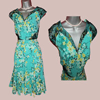 UK 12 MONSOON Green Floral Print Embellished Cap Sleeve Party Evening Dress EU40