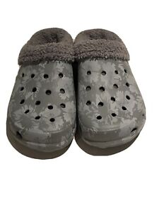 Crocs Womens Dual Comfort Lined Slip On Clogs Gray Floral Size 8
