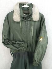 HEAD Vtg 70s 80s Olive Green Faux Fur Shiny Full Body Ski Suit Women's Medium 8
