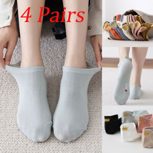 4 Pairs/Pack Heart Embroidered Ankle Socks Cotton Women Cute Girls Funny Happy