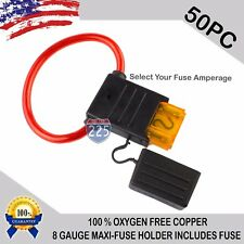 50 Pack 8 Gauge MAXI Inline Blade Fuse Holder 100% OFC Copper Wire + 20A - 120A