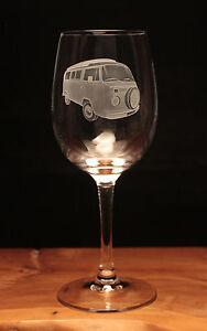 VW Volkswagen VW Type 2 Camper Van engraved Wine Glass gift present