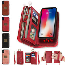 For iPhone 11 Pro Max/7/8 XR XS Purse Leather Zipper Detachable Flip Wallet Case