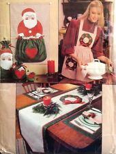 Vtg Vogue 8753 Sew Pattern Xmas Card Holder Santa Claus Apron Gift Bags Applique