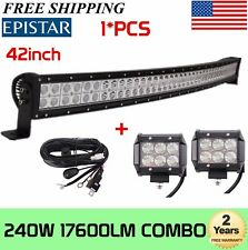 42 Inch 240W Curved Led Work Light Bar Combo+2x4'' Pods+Wiring Kit Offroad Truck