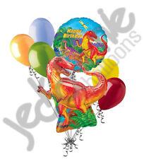 7 pc Dinosaur T-Rex Happy Birthday Balloon Bouquet Boy Themed Party Dino Red