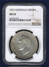 AUSTRALIA  1937  1 CROWN SILVER COIN, CHOICE UNCIRCULATED, CERTIFIED NGC MS-63