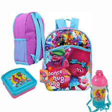"16"" Backpack Trolls Poppy & Cooper School Book bag, Canteen, Bread Sandwich Box"