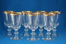 VINTAGE TIFFIN AUREOLA  WINE/WATER GOBLETS  WITH GOLD RIM LOT OF 7